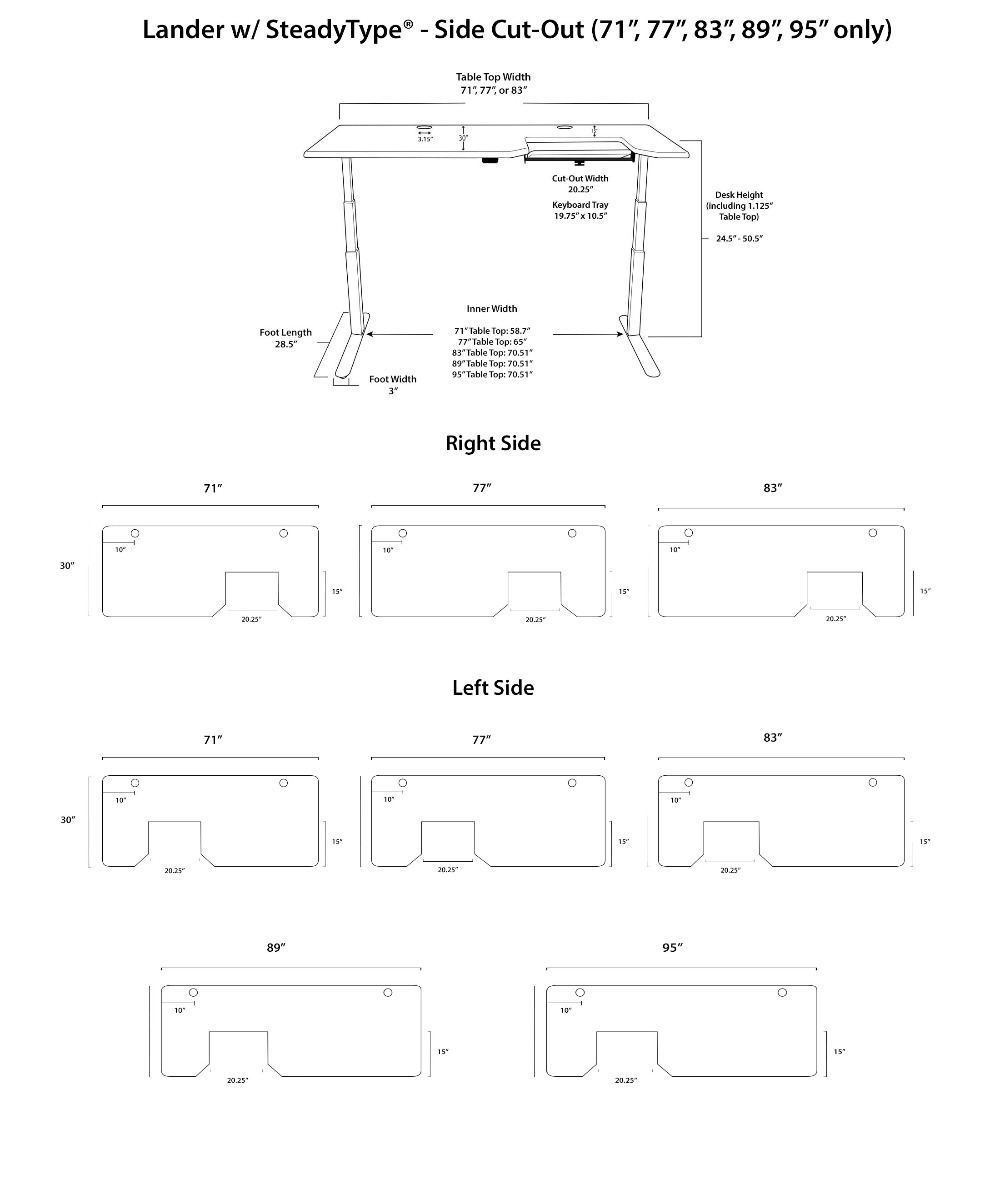 Lander SteadyType Standing Desk - Side Cut Out Diagrams
