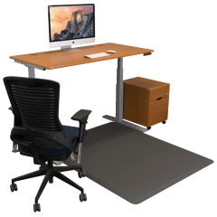 EcoLast Hybrid Standing / Chair Mat - 5' x 4' Gray with desk