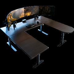 Lander U-Desk, Obsidian Oak on Black Base