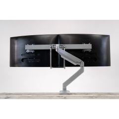 Rear mounted view of ZipView Unison Dual Monitor Arm with Handle