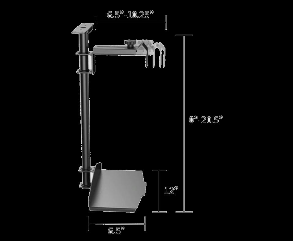 iMovR+Eureka CPU Holder 360 adjustable range diagram.