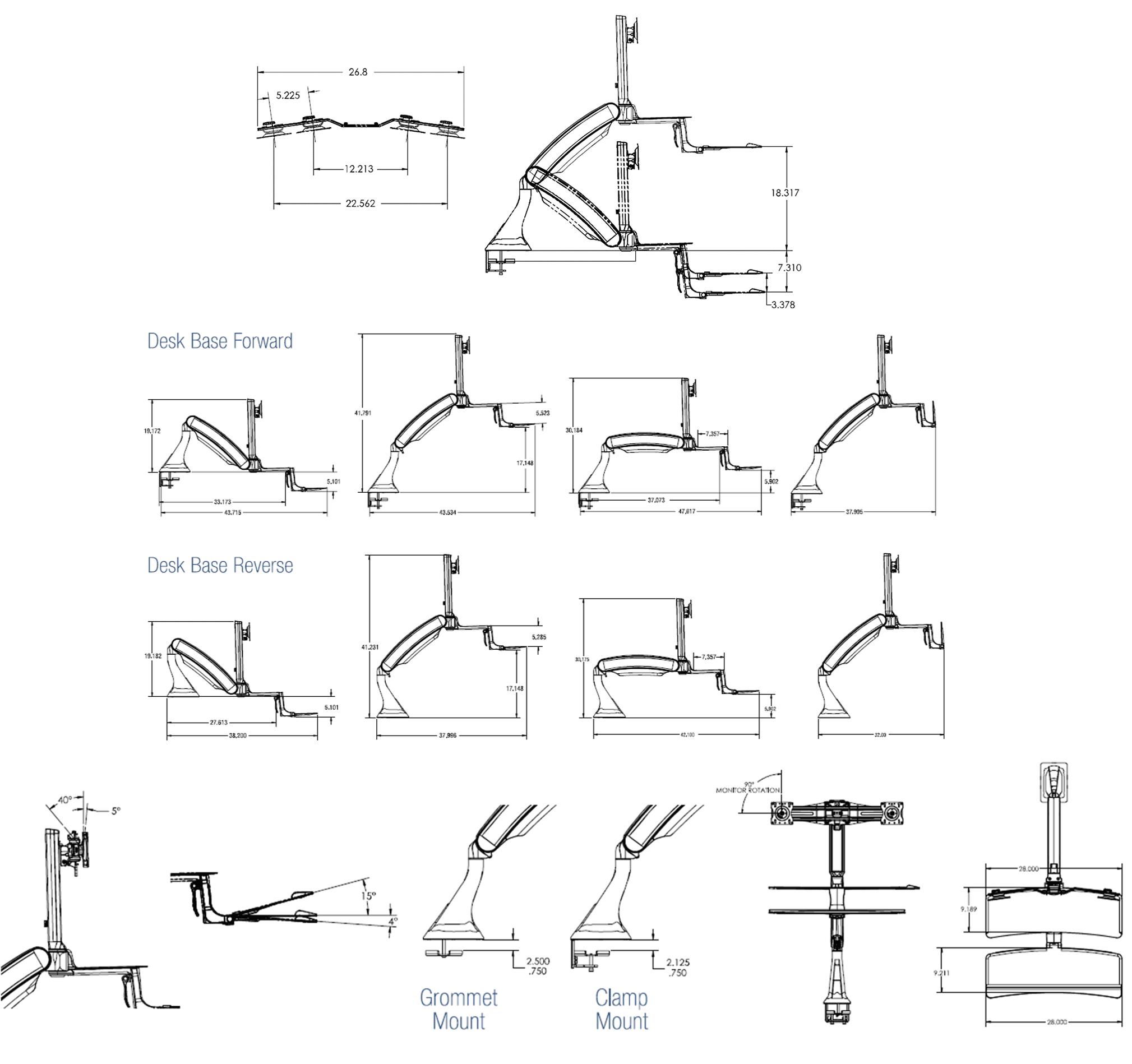 Cadence Standing Desk Converter Dimensions