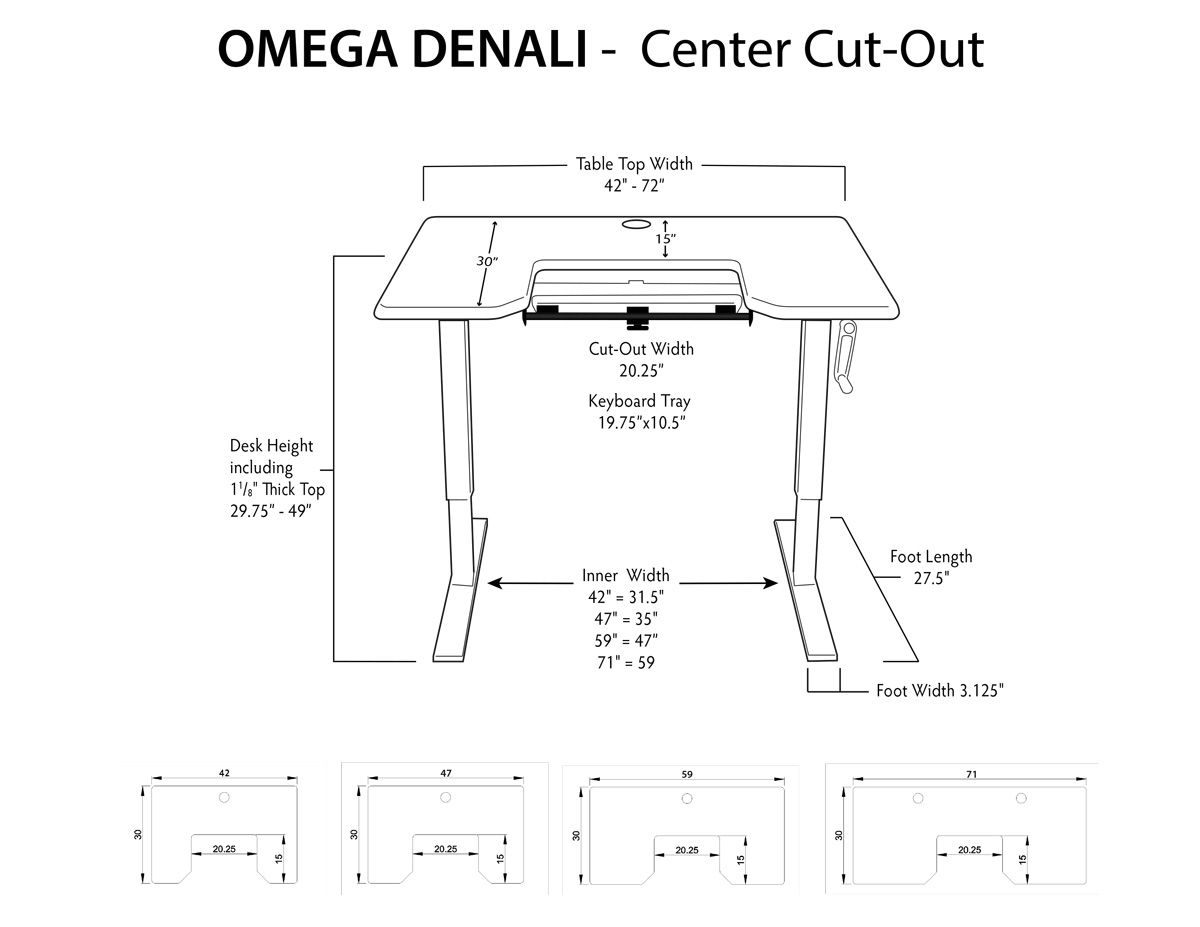 iMovR Denali Stand Up Desk Dimensions