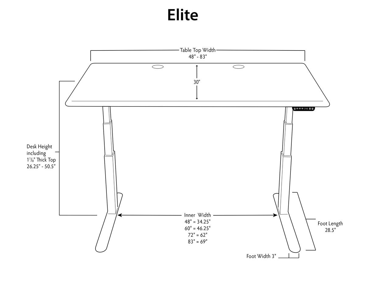 iMovR Elite aStand Up Desk Dimensions