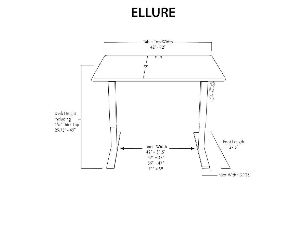Ellure Standing Desk Dimensions