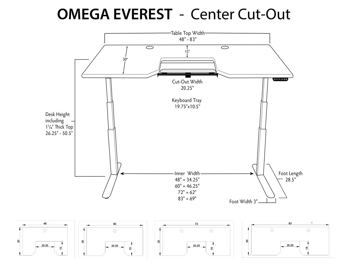 iMovR Everest Standing Desk Center Tray Measurements