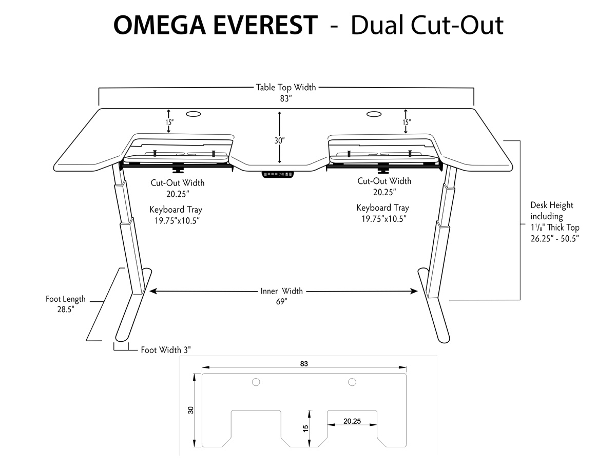 iMovR Everest Standing Desk Dual Tray Measurements