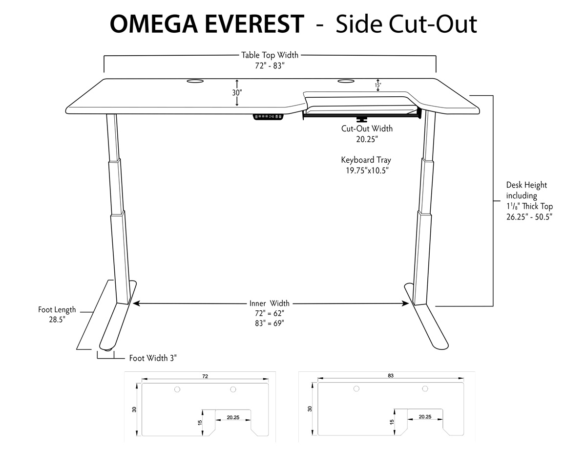 iMovR Everest Standing Desk Side Tray Measurements