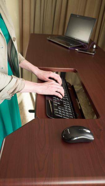 SteadyType keyboard tray on desk at Westin hotel
