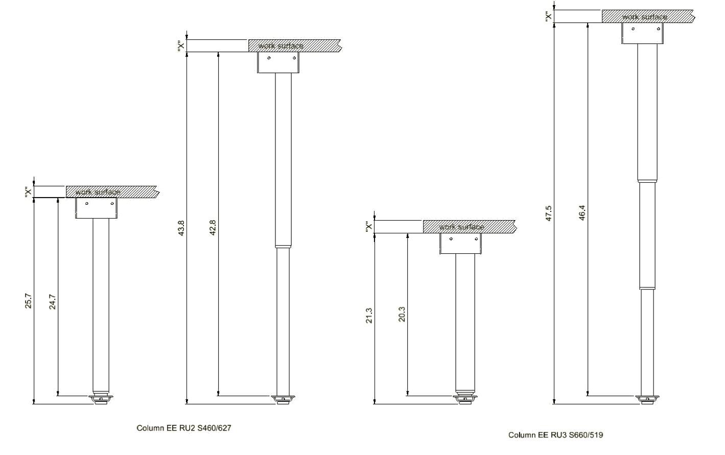 Freedom Desk Base Specs Diagram