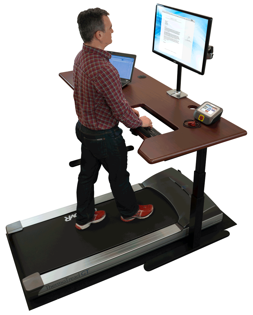 A treadmill desk with a SteadyType keyboard.