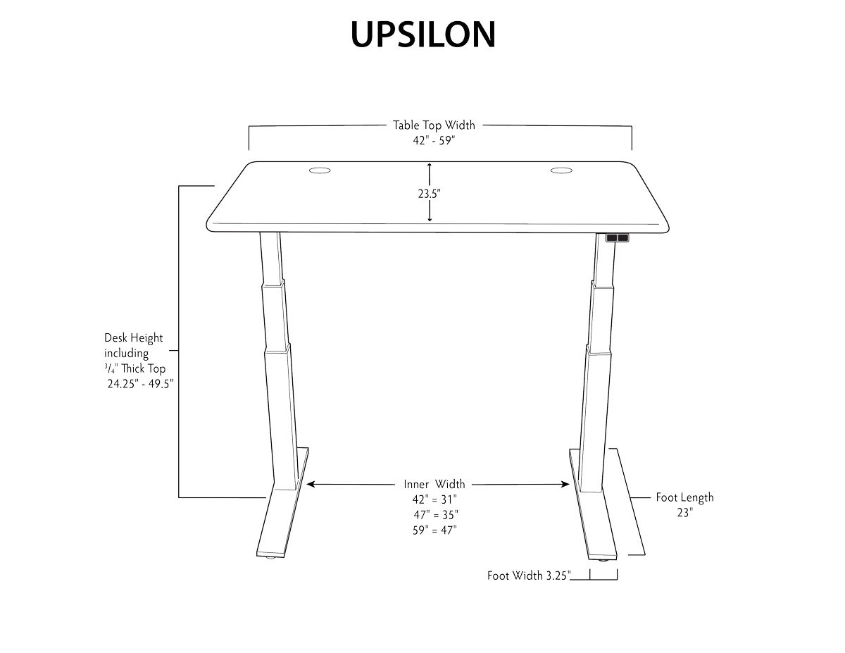 iMovR Upsilon Stand Up Desk Dimensions