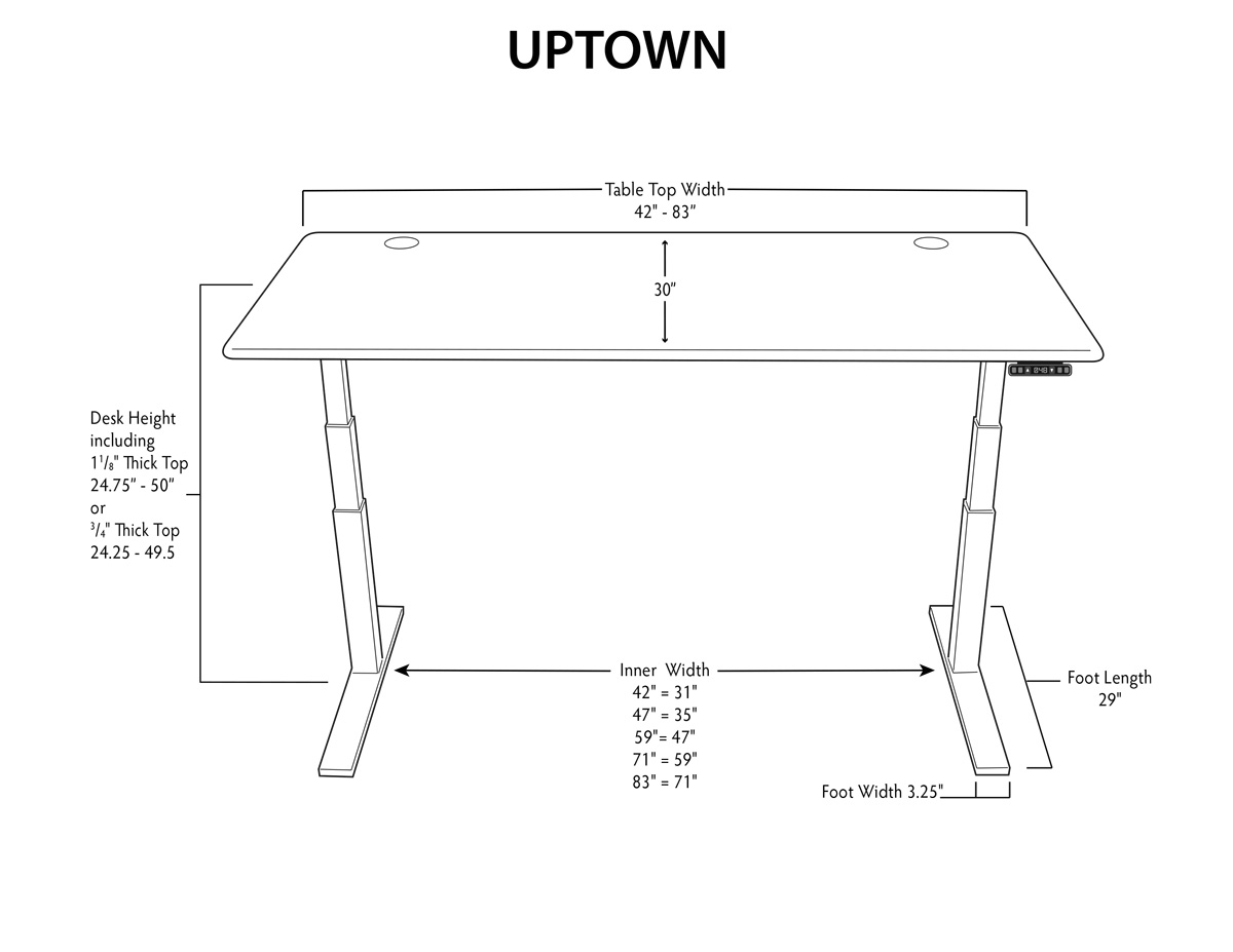 iMovR UpTown Stand Up Desk Dimensions