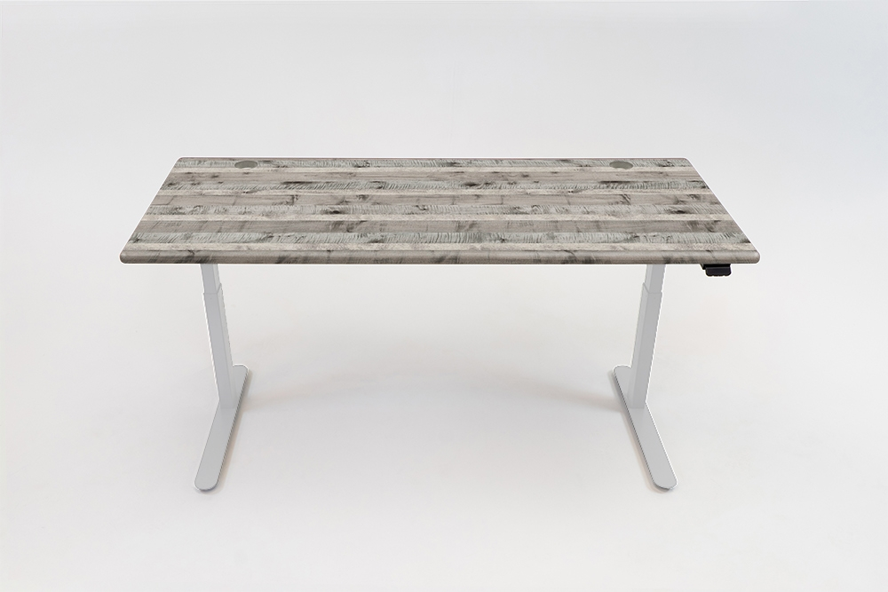 A Reclaimed Victorian Gray desktop on a white base.