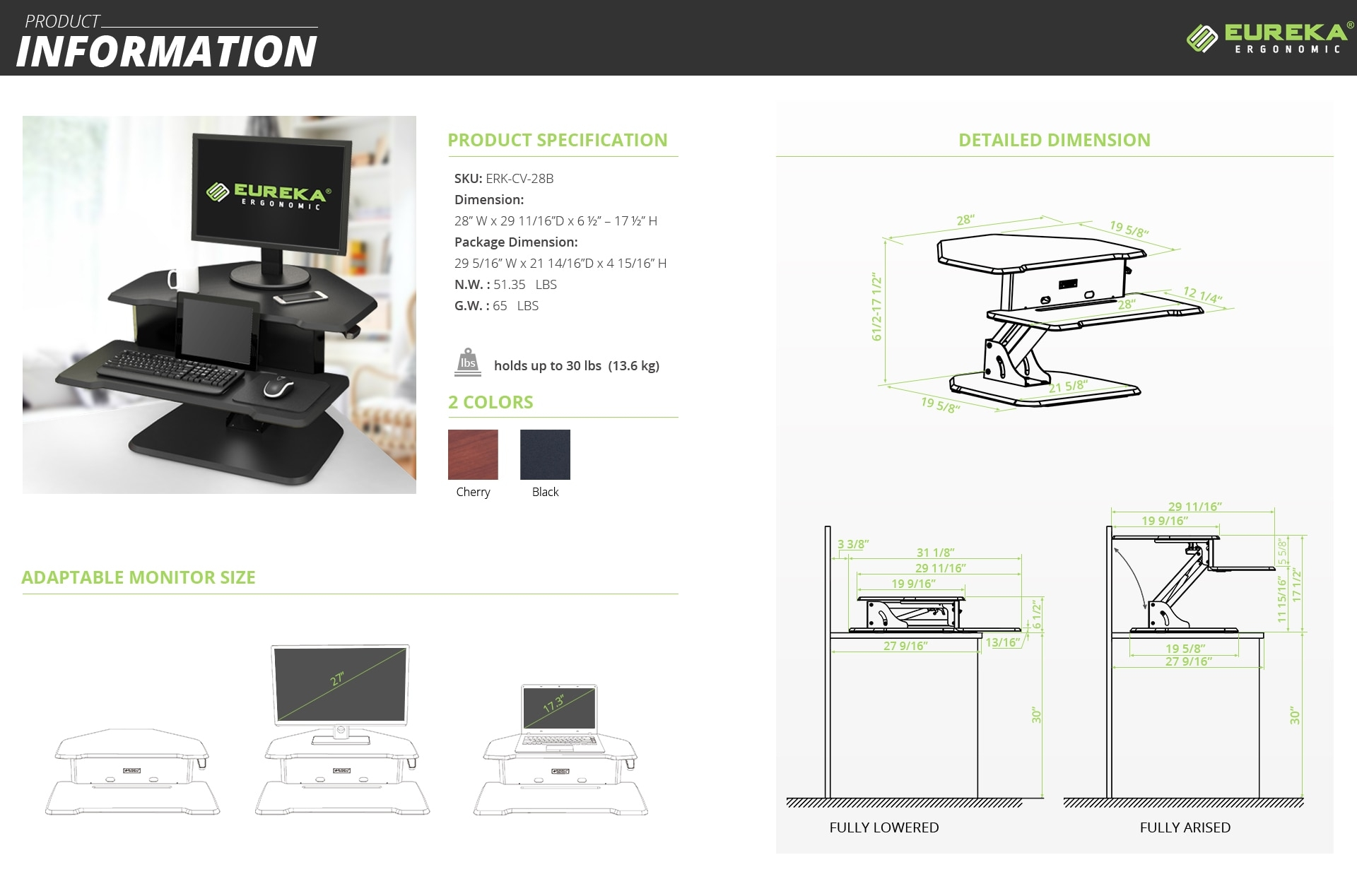 iMovR+Eureka 28″ Z-Lift Corner Standing Desk Converter Specifications