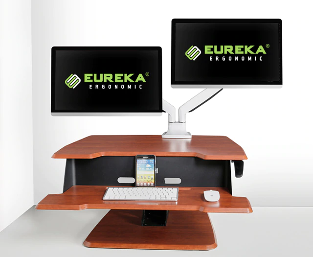 "iMovR+Eureka 31"" Single-Arm Z-Lift Standing Desk Converter - Dual Monitors"