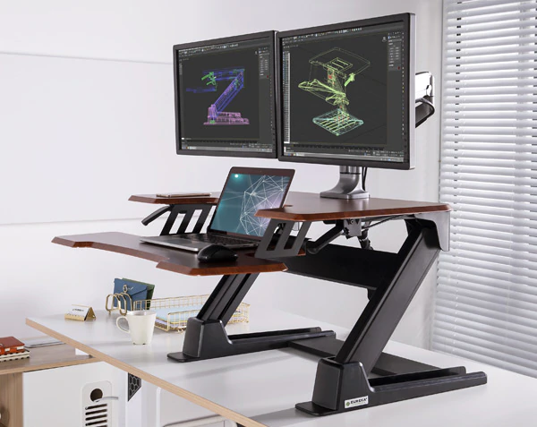 "iMovR+Eureka 36"" Z-Lift Standing Desk Converter - Large Weight Capacity"