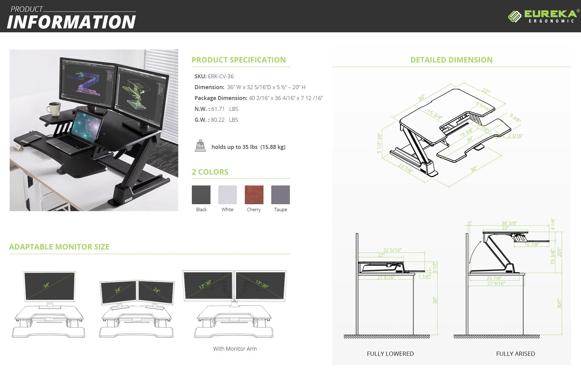 """iMovR+Eureka 36"""" Desk Converter Specs"""