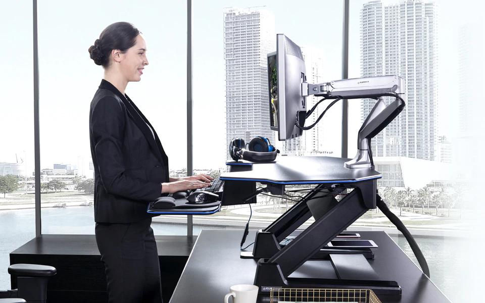 "iMovR+Eureka 46"" Z-Lift Standing Desk Converter - Smooth Operation"