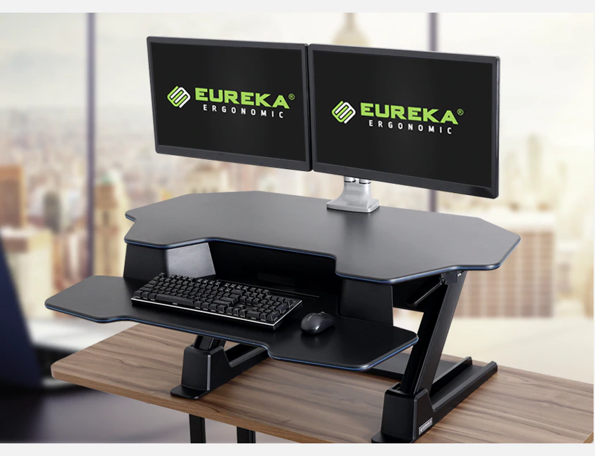 iMovR+Eureka 46 Z-Lift Standing Desk Converter - Supports Multiple Monitors