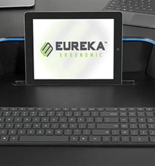 """iMovR+Eureka 46"""" Z-Lift Standing Desk Converter - Mobile Device Slot"""