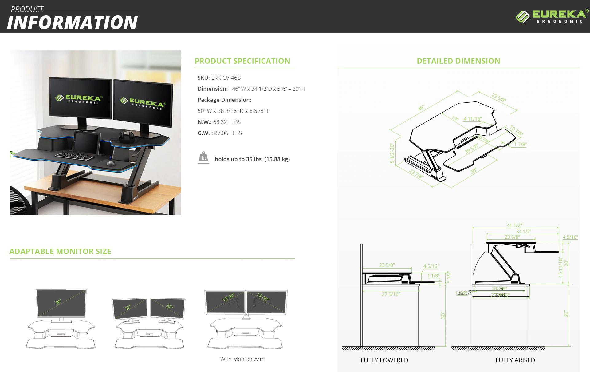 """iMovR+Eureka 46"""" Desk Converter Specs"""