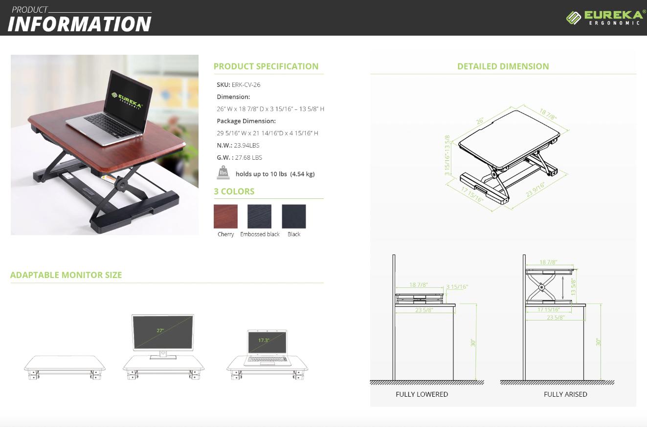 "iMovR+Eureka 26"" Laptop Riser Specs"