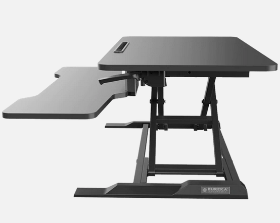 iMovR+Eureka 32″ X-Lift Sit-Stand Desk Converter seen from the side.