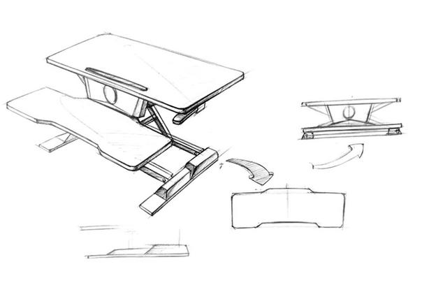 iMovR+Eureka 32″ X-Lift Sit-Stand Desk Converter Design Sketches