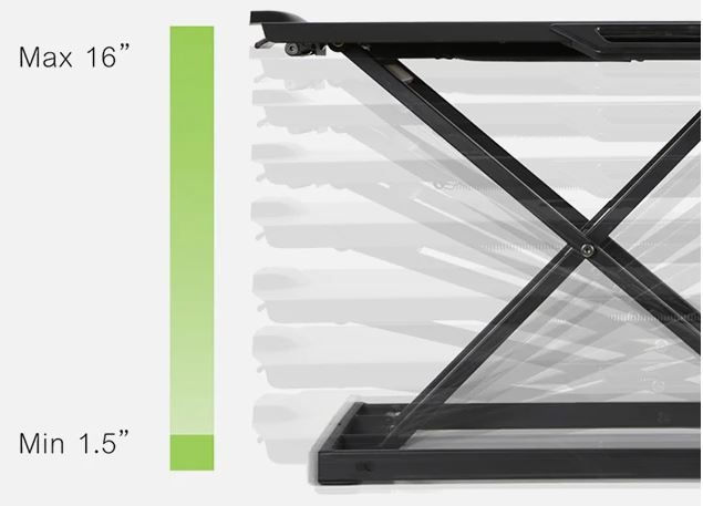 iMovR+Eureka Ultra-Slim Portable Sit-Stand Desk Converter height diagram.