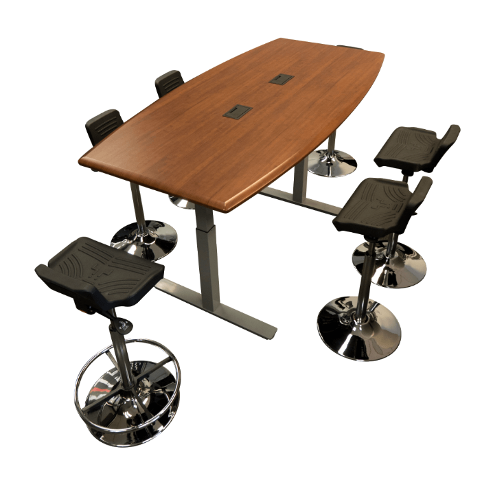 Synapse Table with Tempo TreadTop Sit-Stand Stools