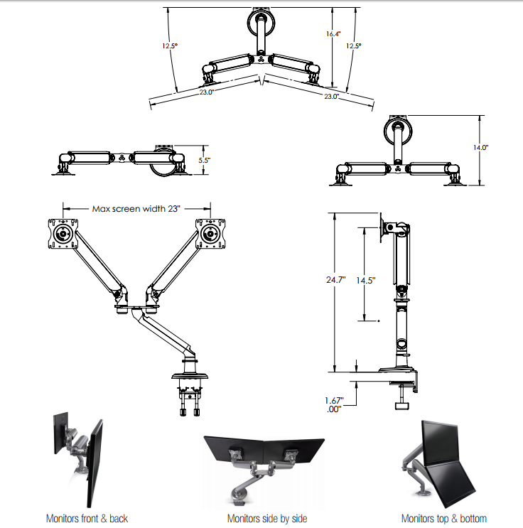 Tempo Dual Screen Monitor Arm with Two Arms Diagrams