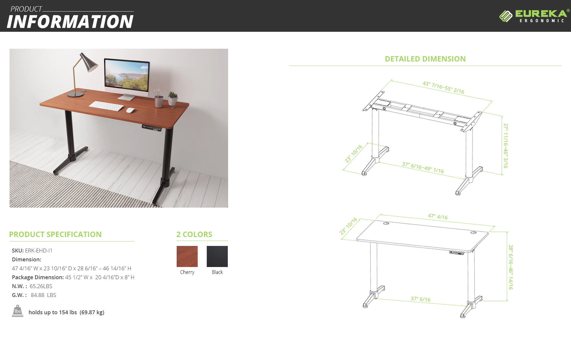 iMovR+Eureka i1 Standing Desk Product Specifications