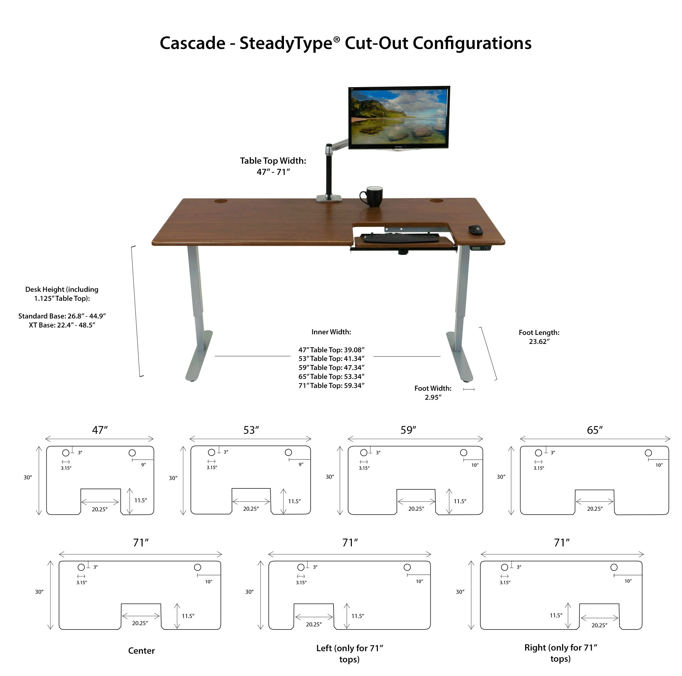Cascade Standing Desk Specs Diagram
