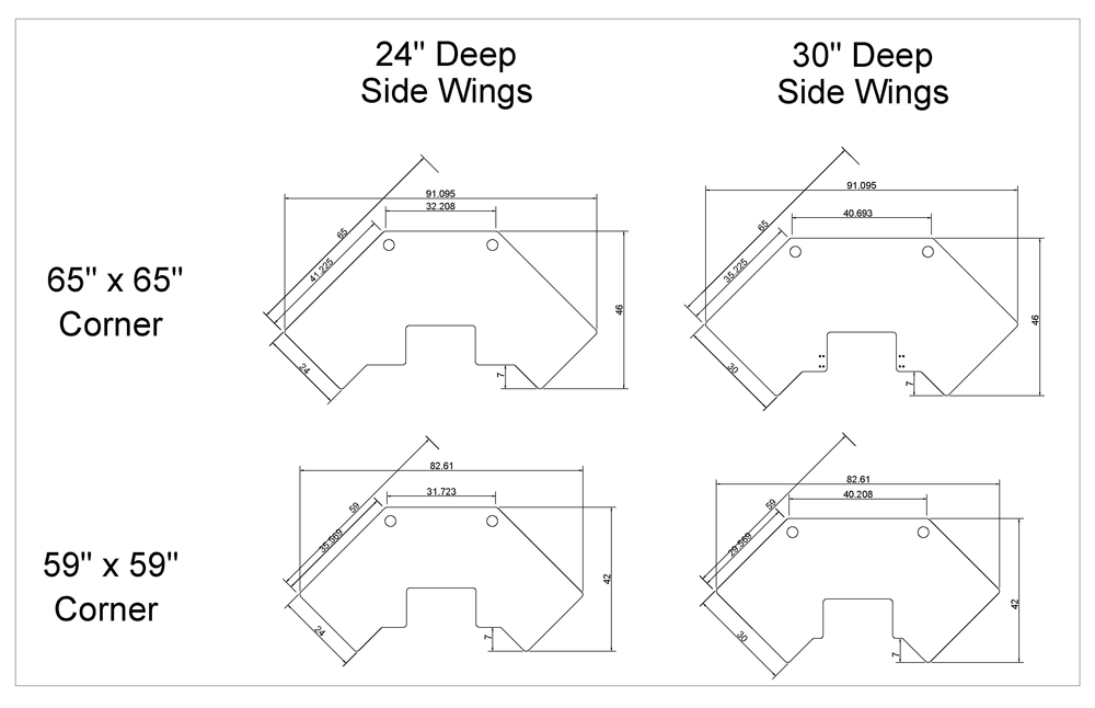 iMovR Cascade Corner Tabletops Diagram 2