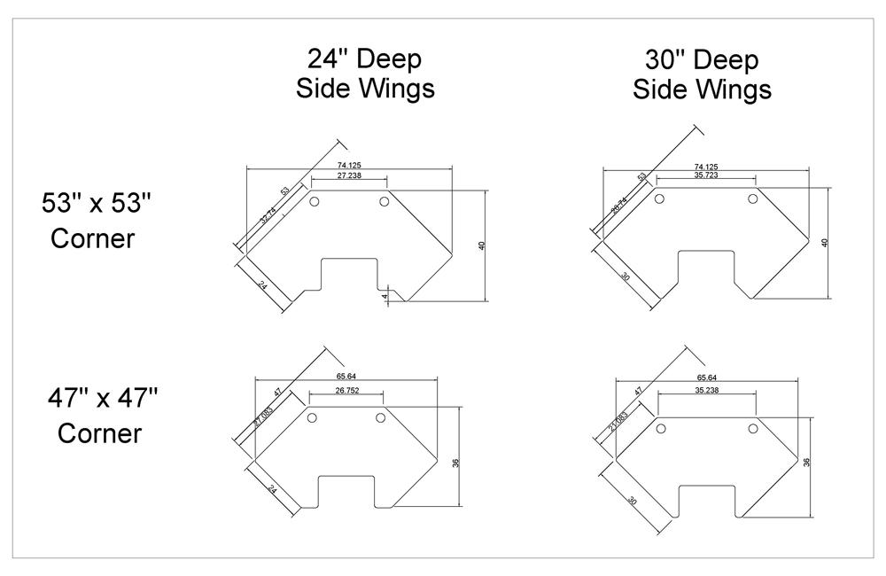 iMovR Cascade Corner Tabletops Diagram
