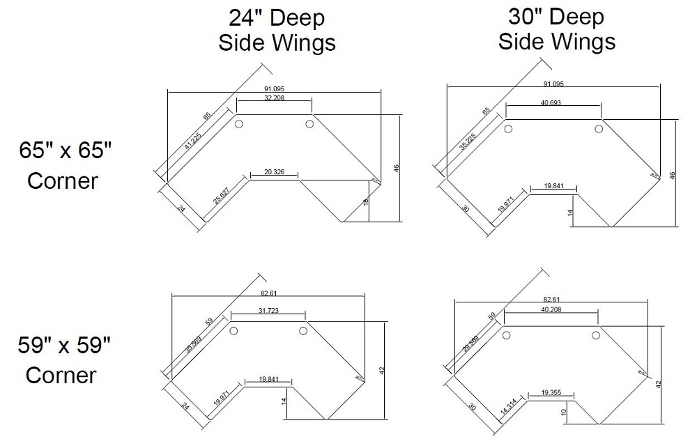 Energize Corner Tabletop Diagram for 59- and 65-inch tops