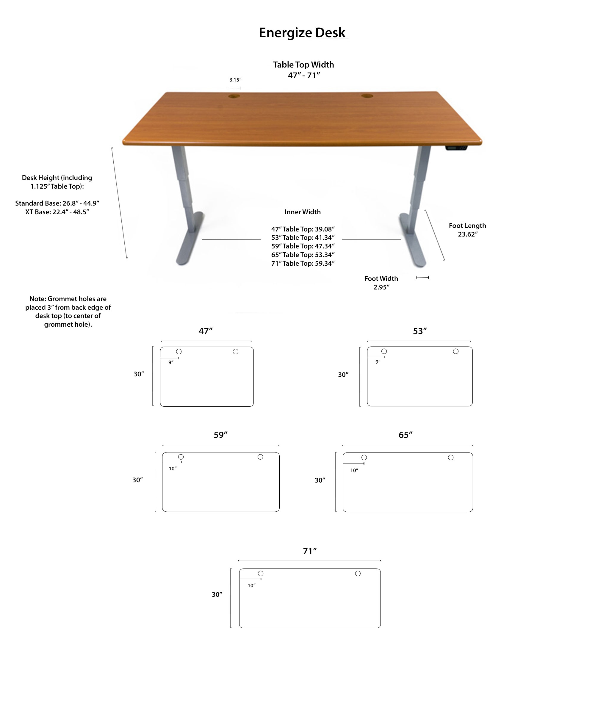 iMovR Energize Standing Desk Diagrams