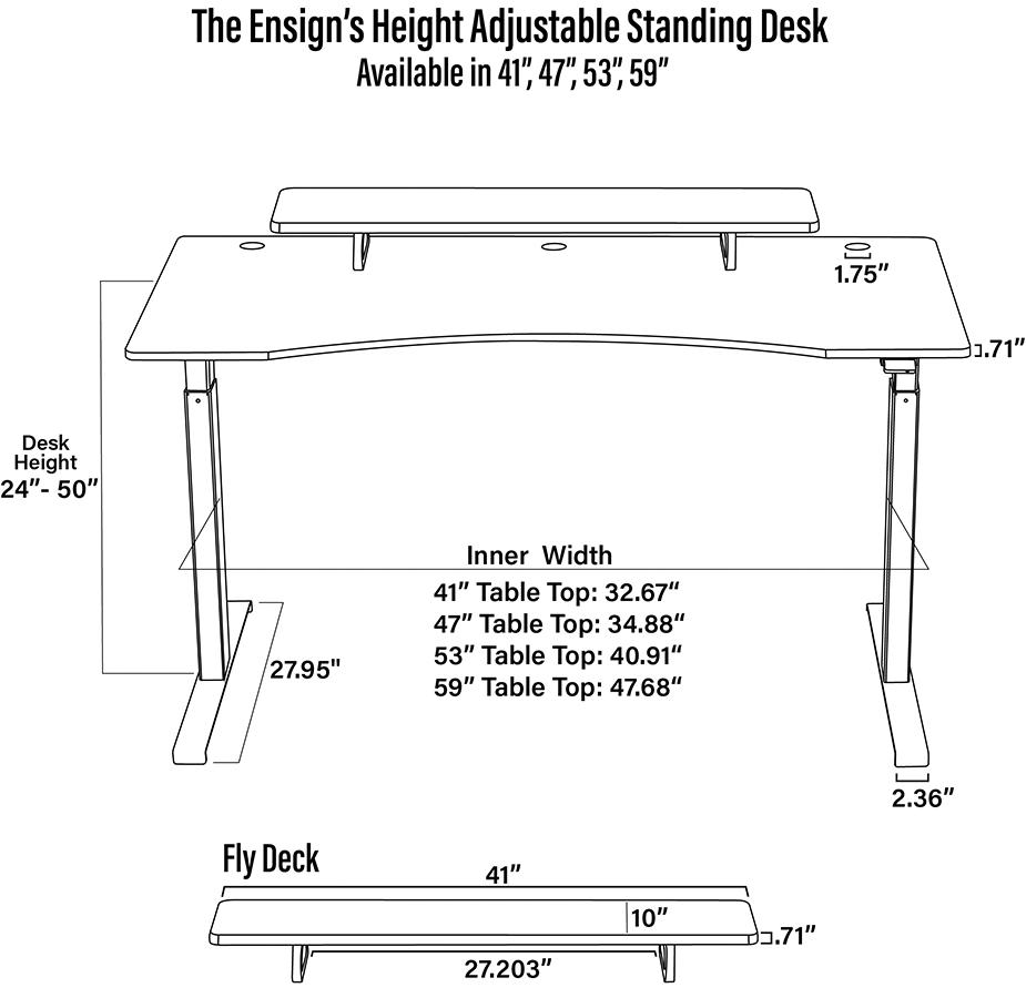 Ensign's Desk Dimensional Diagram (1/2)