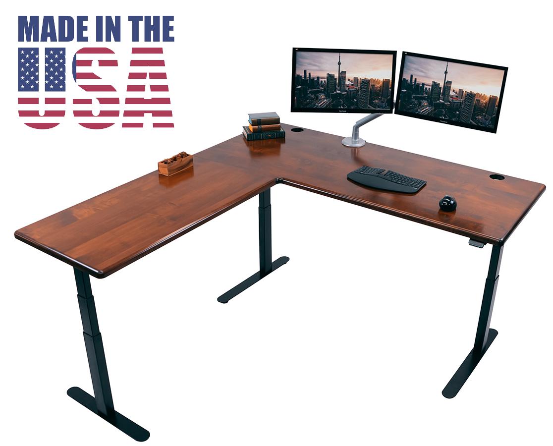 Lander L Desk Solid Wood Top