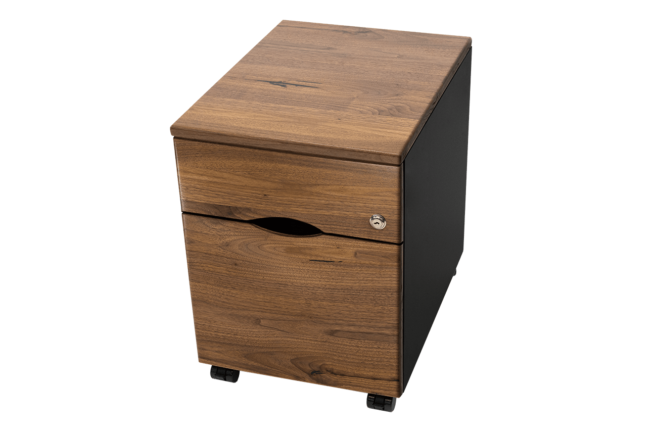 Mobile File Cabinet with Solid Wood Top & Drawer Faces and 3D-laminated Body