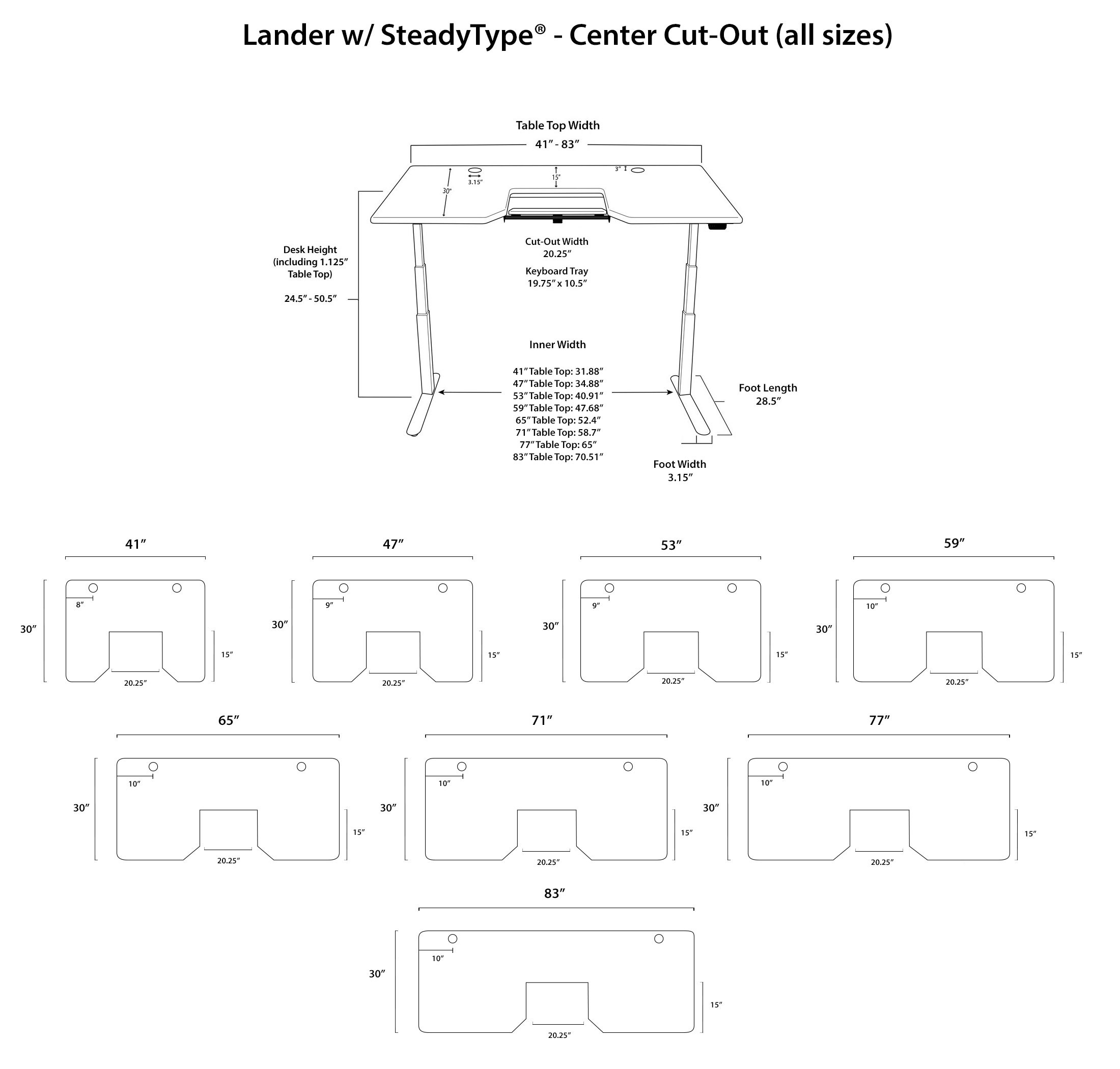 Lander SteadyType Standing Desk - Center Cut Out Diagrams