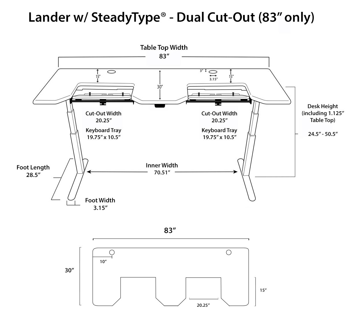 Lander SteadyType Standing Desk - Dual Cut Out Diagrams