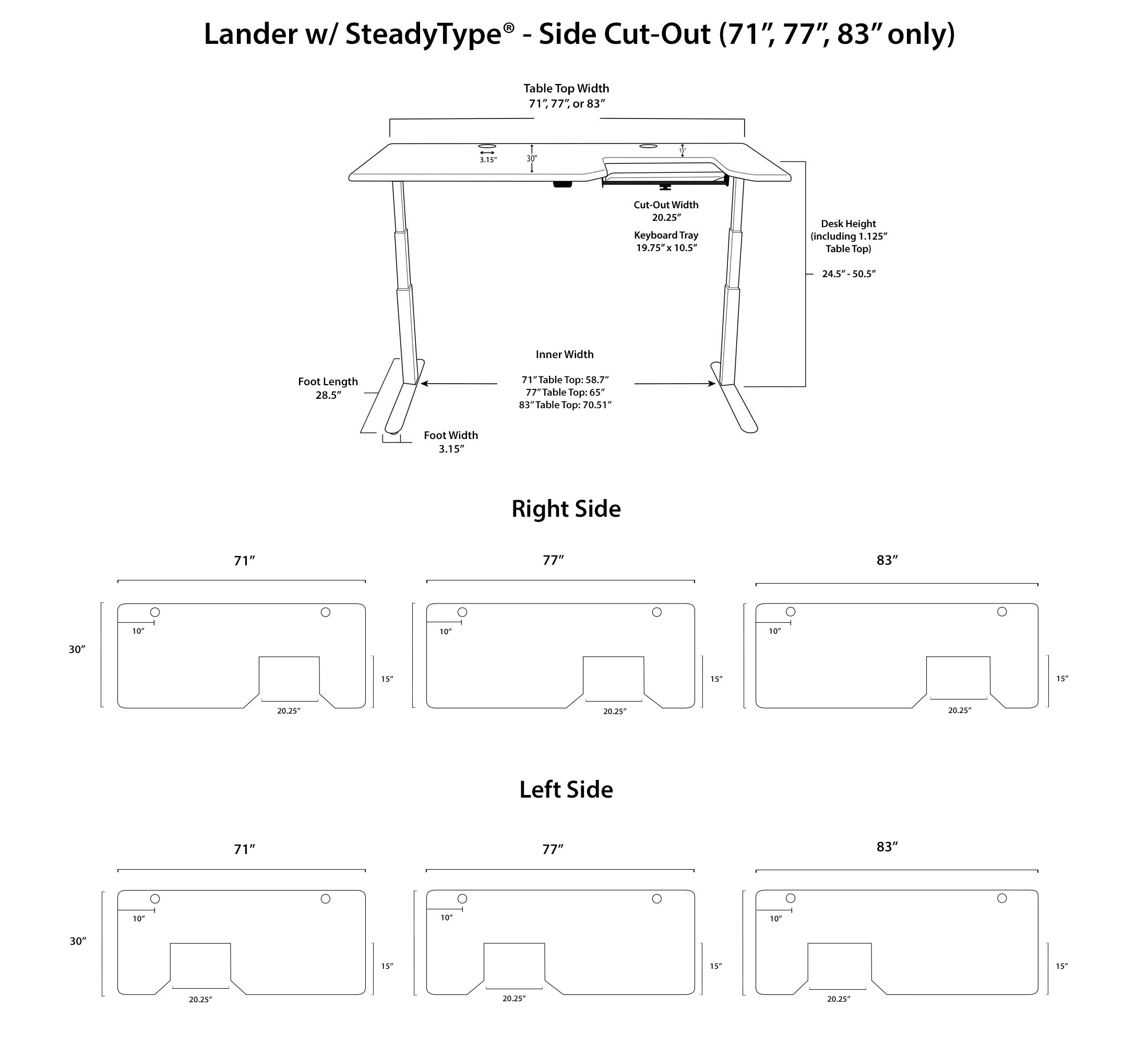 Lander SteadyType Standing Desk - Side Cut Out Diagrams
