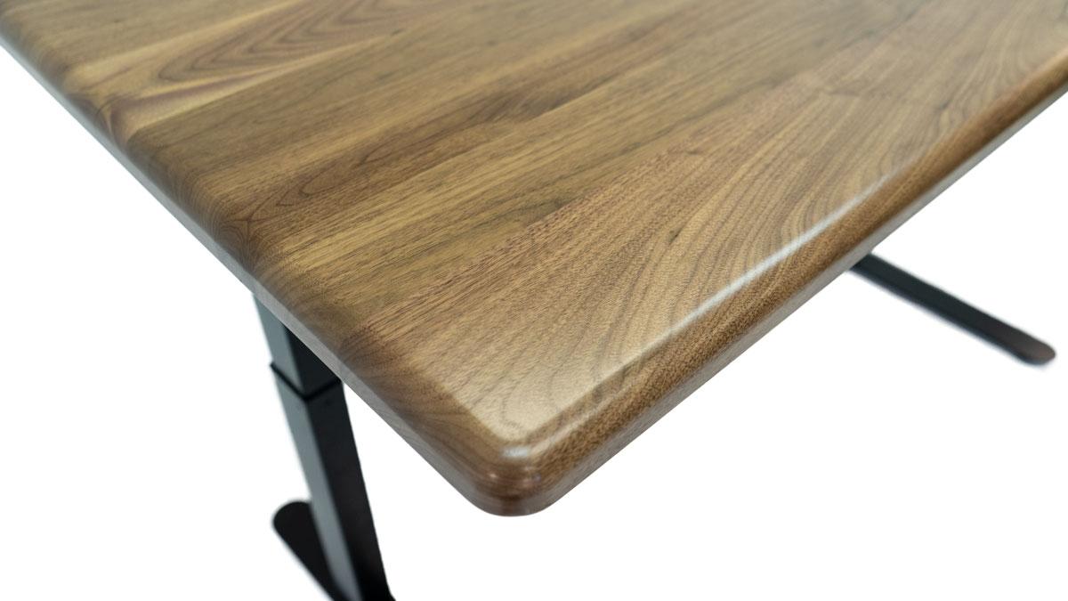 Solid Wood Lander Desk in Natural Rustic Walnut, ergo-contoured corner highlight