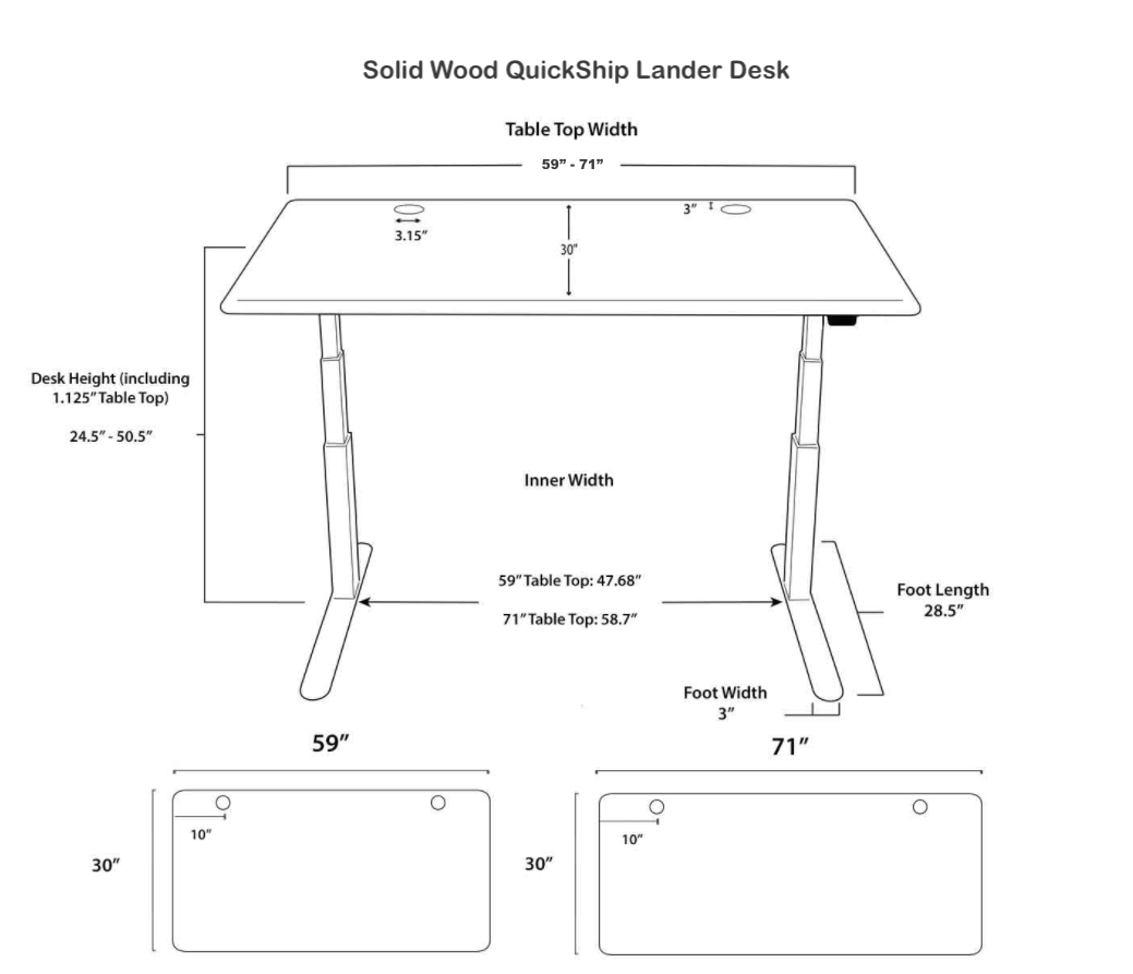 Solid Wood QuickShip Lander Desk Specs