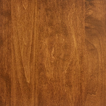 The mid-range brown stain applied to this real maple wood beautifully complements other leather furniture in the room.
