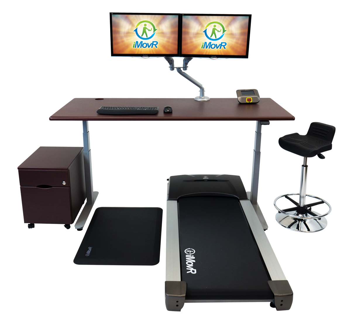 Lander Treadmill Desk in Clove Mahogany with Accessories