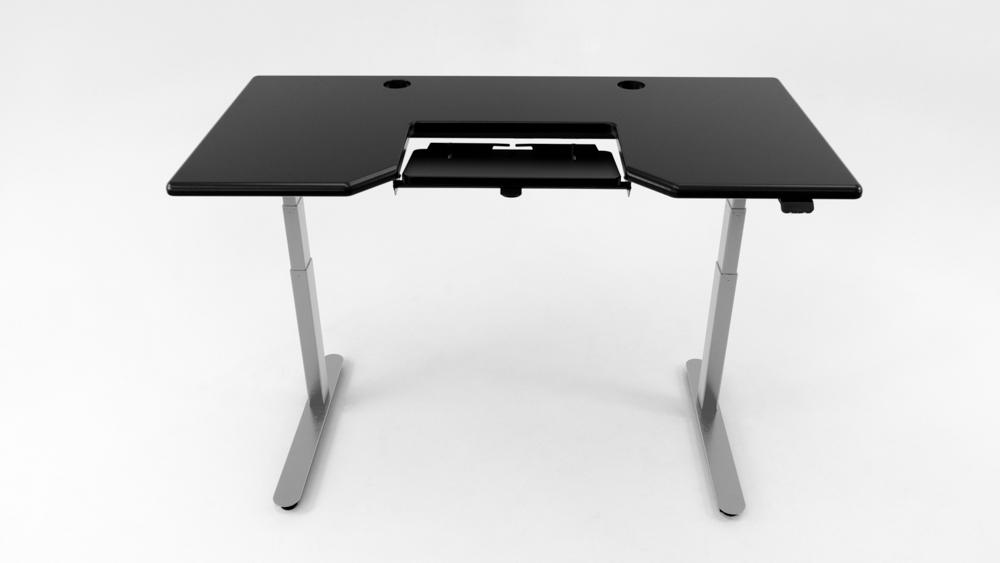 A black desktop on a silver base.