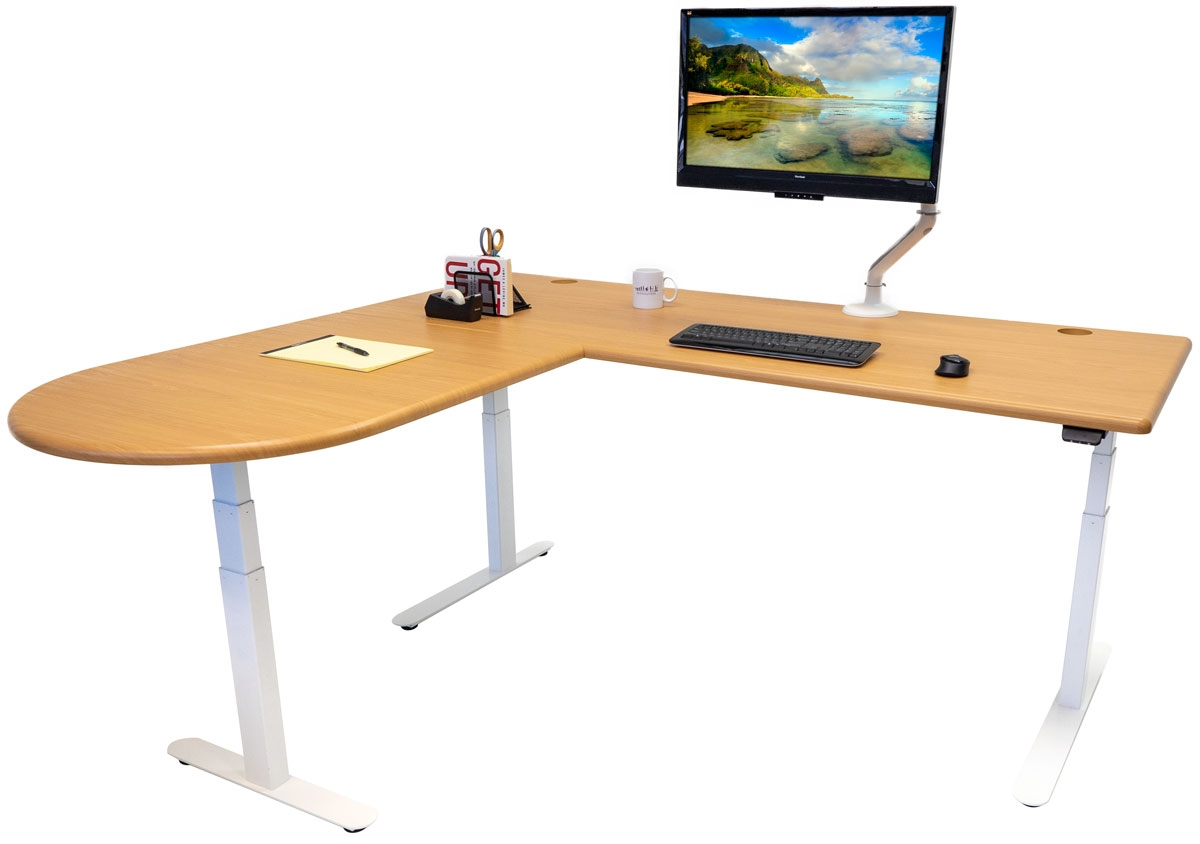 The Lander L-Desk with a peninsula return in Almond Cherry